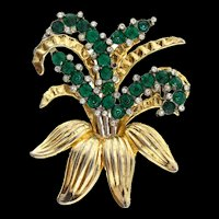 Vintage Large Two-Tone Emerald Rhinestone Floral Spray Brooch Pin