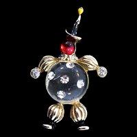 Rare Vintage 1940s CORO Jelly Belly Rhinestone Enamel CLOWN Figural Pin Brooch