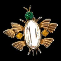 Vintage Sterling Glass Belly Rhinestone Winged BUG Figural Pin Clip Brooch Book Piece