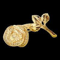 Vintage CHRISTIAN DIOR Rose Flower Figural Rhinestone Brooch Pin