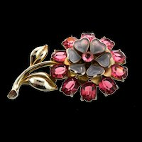 Vintage Rhinestone Molded Heart Glass Flower Figural Pin Fur Clip Brooch