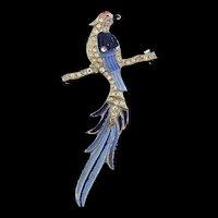 Vintage Art Deco Enamel Rhinestone BIRD on Perch Figural Brooch Pin