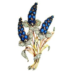 Vintage Rare 1940 Philippe TRIFARI Giant Rhinestone Sapphire Flower Figural Pin Fur Clip