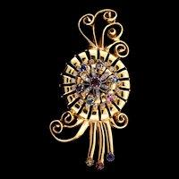 "Huge 4.5"" Vintage Mcclelland Barclay Rhinestone Pinwheel Spray Pin Brooch"