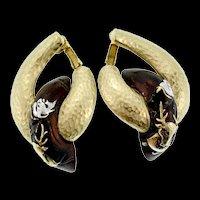 Vintage Rare DIANE LOVE For TRIFARI 1970 SAMURAI Deer Ornament Clip Earrings