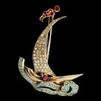 Vintage 1947 FRANK GARGANO Sterling Sailboat Figural Rhinestone Brooch Pin ~Book Piece