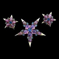 Vintage 1950s BOUCHER Star Figural Cabochon Rhinestone Brooch Pin Earrings SET
