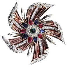 Rare Vintage 1940s TRIFARI Sterling Rhinestone PINWHEEL Flower Figural Fur Pin Clip