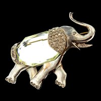 Vintage Unsigned MAZER Sterling Rhinestone Glass Belly ELEPHANT Figural Brooch Pin