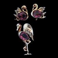 Vintage REJA STERLING Rhinestone Amethyst Belly FLAMINGO Figural Brooch Pin Earrings SET
