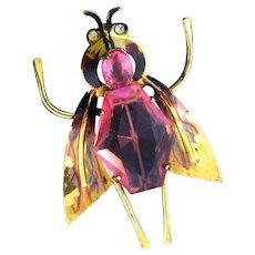 Vintage 1940s CORO Sterling Enamel Bug Insect Figural Rhinestone Brooch Pin