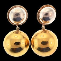 Vintage Mid-Century MODERNIST Domed Dangle Vermeil Sterling Silver Pierced Earrings