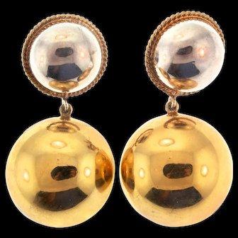 Vintage Mid-Century MODERNIST Domed Dangle Vermeil Sterling Silver Pierced Earrings
