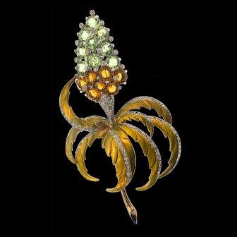 Giant 1940s MB BOUCHER Metallic Enamel Jewels of Fantasy FLOWER Brooch Pin