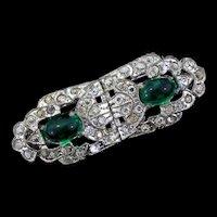 Vintage Early 1930s CORO Art Deco Rhinestone Emerald Cabochon Pins DUETTE Set