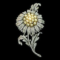 Large Vintage 1940 Philippe TRIFARI Empress Eugenie Rhinestone Fx Pearl Flower Figural Pin Fur Clip