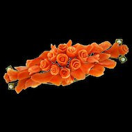 Fine Large Antique Victorian Carved Salmon Coral 14K Gold Pearl Floral Brooch Pin