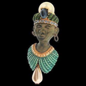 Vintage HAR Sultan Blackamoor Genie Figural Enamel Rhinestone Pearl Brooch PinMINTY