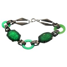 Vintage Art Deco Sterling Carved Emerald Glass Donut Link BRACELET