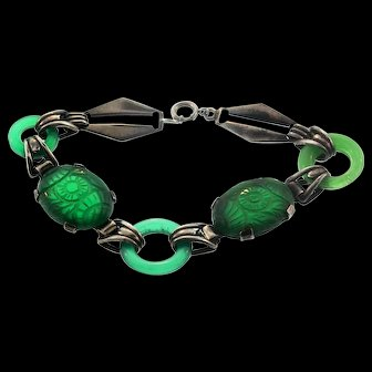 Vintage Art Deco Sterling Carved Emerald Glass Donut Link BRACELET