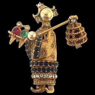 Vintage CINER Asian Bird Lady Figural Rhinestone Brooch Pin