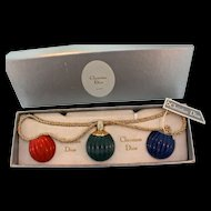 1974 CHRISTIAN DIOR Germany Interchangeable Lucite Orb Pendant NECKLACE NIB+Tag