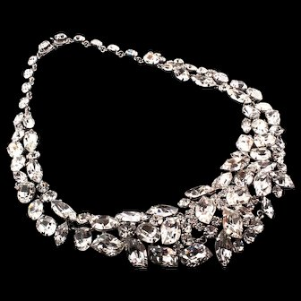Vintage 1964 CHRISTIAN DIOR Germany Articulated Crystal Ice Rhinestone NECKLACE