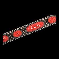 """Vintage Estate Huge 5"""" Chinese Sterling Silver Carved Coral Floral Bar Brooch Pin"""