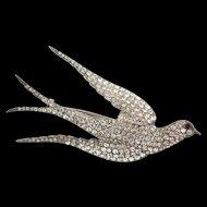 "Impressive 4"" Victorian Sterling Paste SWALLOW BIRD Hallmarked Brooch Pin"