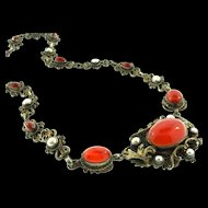 Antique Austro Hungarian Victorian Carnelian Pearl Gilded Silver NECKLACE