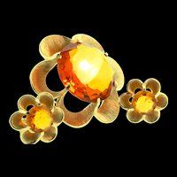 Vintage TRIFARI Chunky Faceted Topaz Glass Stylized FLOWER Brooch Pin and Earrings Set