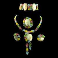 Vintage Philippe TRIFARI Fruit Salad Rhinestone MOP Necklace Bracelet Earrings Pin PARURE
