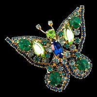 Vintage D&E JULIANA Butterfly Figural Rhinestone Cabochon Brooch Pin Book Piece (#4)