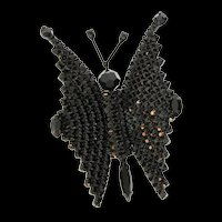 Vintage Art Deco Style Butterfly Figural Black Rhinestone Glass Bead Brooch Pin (#3)