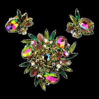 Vintage JULIANA D&E Watermelon Givre Rhinestone Brooch Pin & Earrings Set