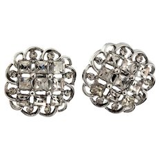 Vintage TRIFARI Rhinestone Silvertone Clip Earrings
