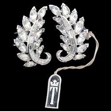 Vintage Philippe TRIFARI Rhinestone Leaf Figural Clip EARRINGS