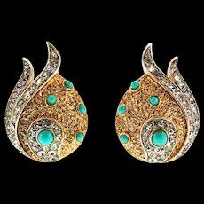 Vintage Philippe TRIFARI Rhinestone Turquoise Cabochon Two-Tone Clip EARRINGS