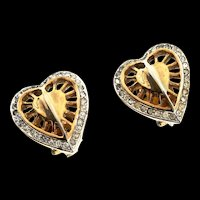 Vintage 1940s Philippe TRIFARI Rhinestone Heart Figural Clip Earrings