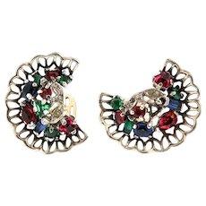 Vintage Philippe TRIFARI Sterling Lattice Fan Shaped Multi-Color Clip Earrings