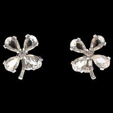 Vintage TRIFARI Four Leaf Clover Crystal Rhinestone Figural Clip EARRINGS