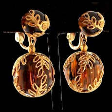 Vintage TRIFARI Tortoise Shell Lucite Caged ORB Bead Dangle Clip EARRINGS