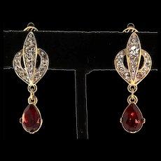 Vintage TRIFARI TM Flame Ruby Teardrop Dangle Rhinestone Clip EARRINGS