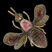 Vintage Arts & Crafts Stone Druzy Wood Brass BUG INSECT Figural Pendant Brooch Pin