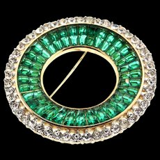 Vintage Philippe TRIFARI Deco INVISIBLE SET Emerald Rhinestone Circle Brooch Pin