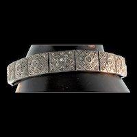 Gorgeous Vintage 1920s True Art Deco Paste Rhinestone Panel Bracelet