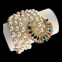 Vintage RARE Philippe TRIFARI Jewels of India Maharajah Pearl Cabochon BRACELET