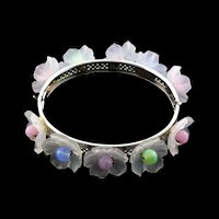 Vintage MIRIAM HASKELL Wired Lucite Frosted Flower Glass Bead Hinged Bangle Bracelet