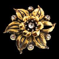 Vintage Philippe TRIFARI Flower Floral Figural Trembler Rhinestone Fur Pin Clip