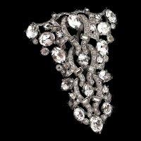 Early Vintage Art Deco Style EISENBERG Clear Rhinestone Dress Clip Brooch Pin